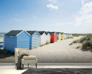 Brightly Coloured Beach Huts Wallpaper Mural Wallpaper Wall Murals