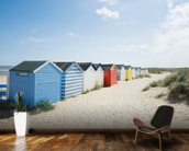 Brightly Coloured Beach Huts mural wallpaper kitchen preview