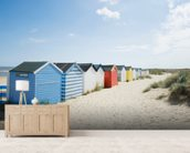 Brightly Coloured Beach Huts mural wallpaper living room preview