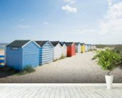 Brightly Coloured Beach Huts mural wallpaper in-room view