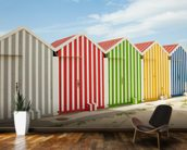 Striped Beach Huts wallpaper mural kitchen preview