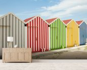 Striped Beach Huts wallpaper mural living room preview