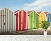 Striped Beach Huts wallpaper mural in-room view