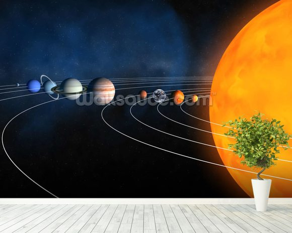 Complete Solar System mural wallpaper room setting