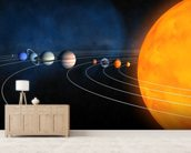 Complete Solar System mural wallpaper living room preview