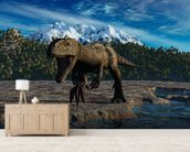 Allosaurus wallpaper mural living room preview