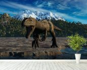 Allosaurus wallpaper mural in-room view
