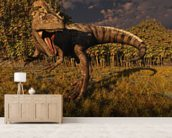 Allosaurus Hunts mural wallpaper living room preview