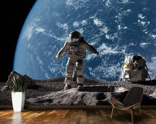 Space wallpaper wall murals wallsauce usa for Astronaut wall mural