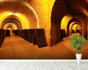 Wine Cellar Tunnels wallpaper mural in-room view