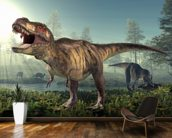 Tyrannosaurus Rex Hunts wall mural kitchen preview