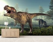 Tyrannosaurus Rex Hunts wall mural living room preview