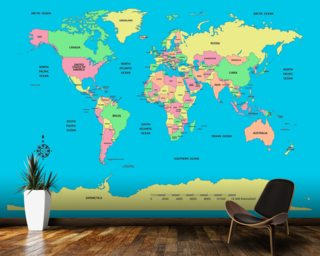 Labelled World Map mural wallpaper