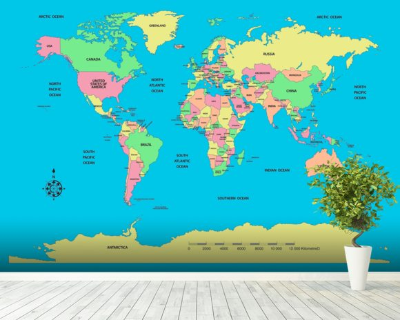Labelled world map wall mural labelled world map wallpaper labelled world map mural wallpaper room setting gumiabroncs Image collections
