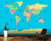 Labelled World Map mural wallpaper kitchen preview