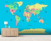 Labelled World Map mural wallpaper living room preview