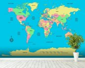 Labelled World Map mural wallpaper in-room view