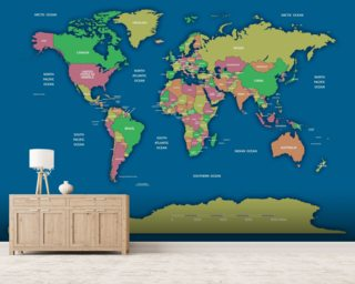 Labelled World Map II wall mural