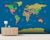 Labelled World Map II wall mural living room preview