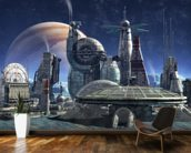 Jupiter Moon Station mural wallpaper kitchen preview