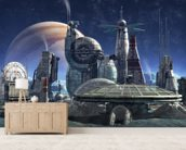 Jupiter Moon Station mural wallpaper living room preview