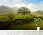 Rural Lake District Hills wall mural in-room view