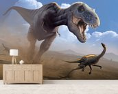Tyrannosaurus Rex Lunch mural wallpaper living room preview