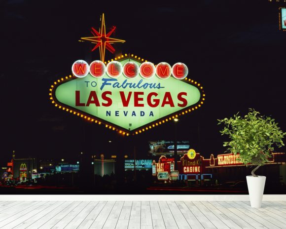 Welcome to Las Vegas mural wallpaper room setting