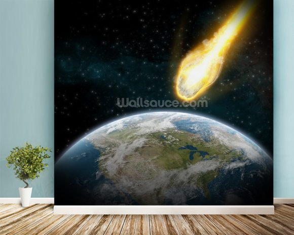 Asteroid and earth wallpaper wall mural wallsauce for Earth rising wall mural
