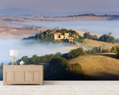 Misty Tuscany Morning mural wallpaper living room preview