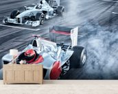 Racing Cars Head to Head mural wallpaper living room preview