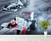 Racing Cars Head to Head mural wallpaper in-room view