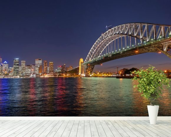 Sydney Harbour Bridge Reflections wallpaper mural room setting