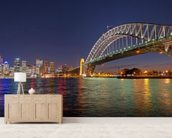 Sydney Harbour Bridge Reflections wallpaper mural living room preview
