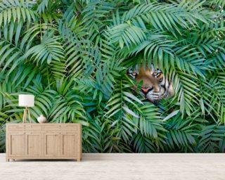 Tiger Hide and Seek Wallpaper Wall Murals