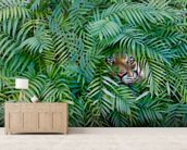 Tiger Hide and Seek mural wallpaper living room preview