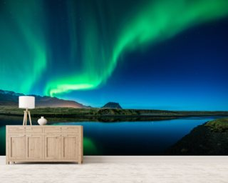 Aurora Borealis Above Grundarfjordur Wallpaper Mural Part 73