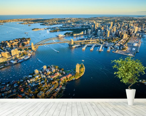Sydney Cityscape wallpaper mural room setting