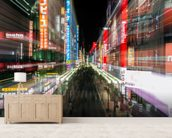 Tokyo City Lights mural wallpaper living room preview