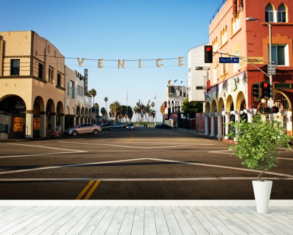 Venice Beach City Streets mural wallpaper room setting