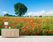 Sunny Spring Poppies wallpaper mural living room preview