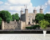 Tower of London mural wallpaper in-room view
