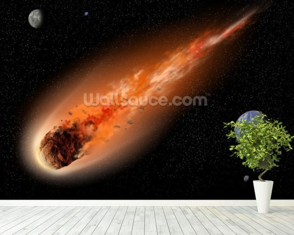 Asteroid in Space wallpaper mural room setting