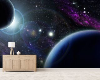 Two Blue Planets wall mural