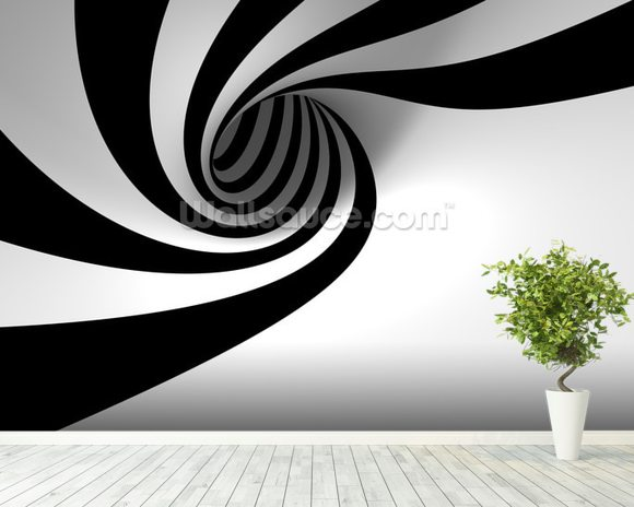 Abstract Spiral wallpaper mural room setting