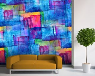 Blue Cubism mural wallpaper