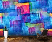 Blue Cubism mural wallpaper kitchen preview
