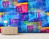 Blue Cubism mural wallpaper living room preview