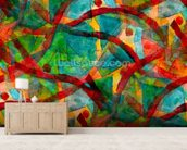Picasso - Green Red Cubism wall mural living room preview