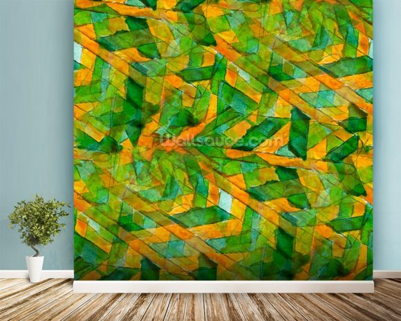 Picasso - Green Yellow Cubism wallpaper mural room setting